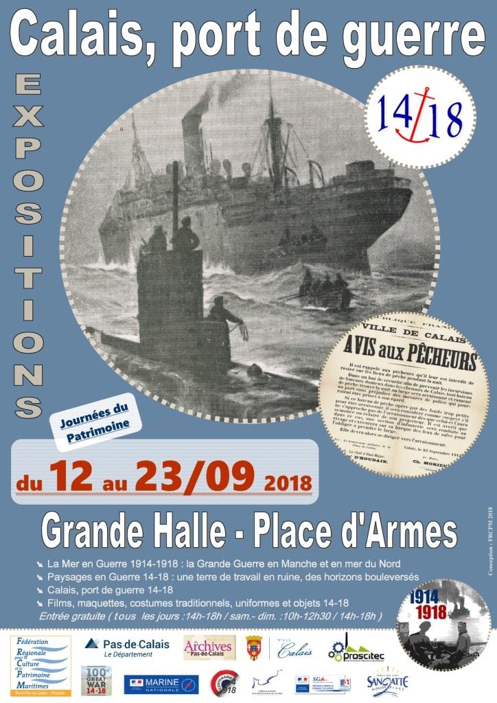 Affiche expo Calais port de guerre 14 18