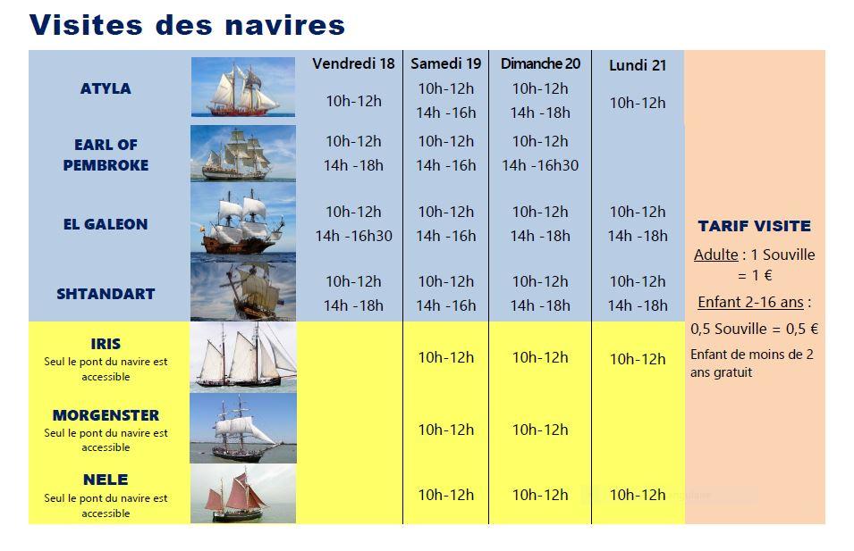 Visites de navires Escale à Calais 2018
